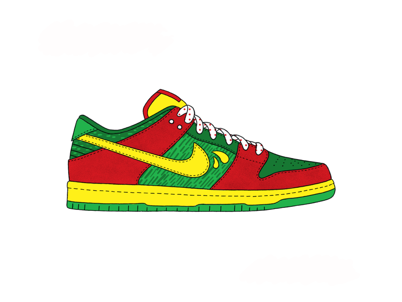 Nike SB Dunk Low - Sun Drop soda sun drop ipad procreate colorize pattern patterns illustrate illustration shoes shoe low top dunk nike