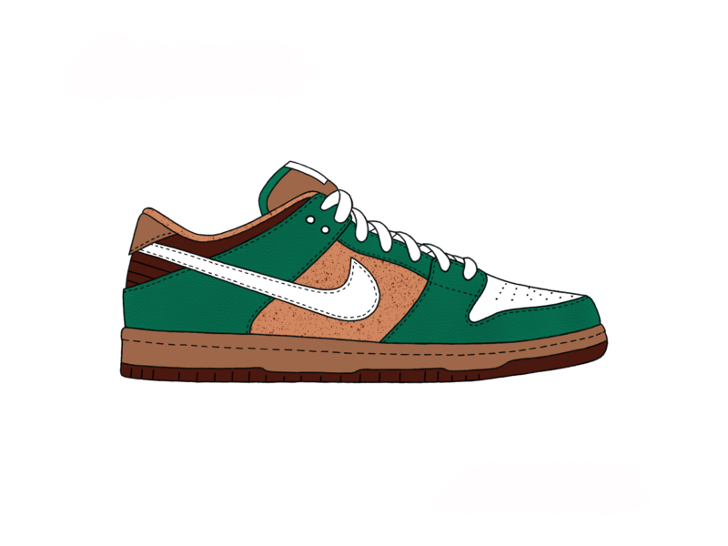 Nike SB Dunk Low - Starbucks brown green design illustration illustrate style coffee starbucks procreate app ipad shoes dunk nike procreate