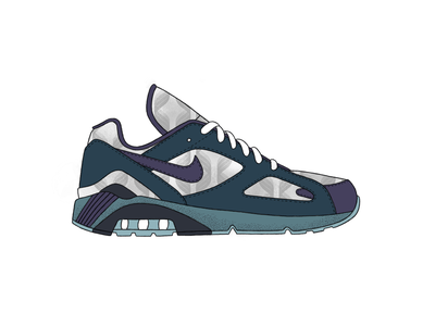 Nike Air Max 180 - Mist nike air max nike procreate app pattern green texture white illustration vector black design procreate ipad grey blue