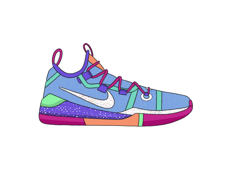 Nike Kobe AD - Sorbet pattern basketball kobe nike procreate app vector design texture green procreate ipad blue white illustration black