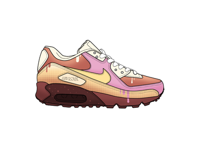 Nike Air Max - Sundae drip ice cream running nike air max nike branding vector design texture procreate ipad white illustration black