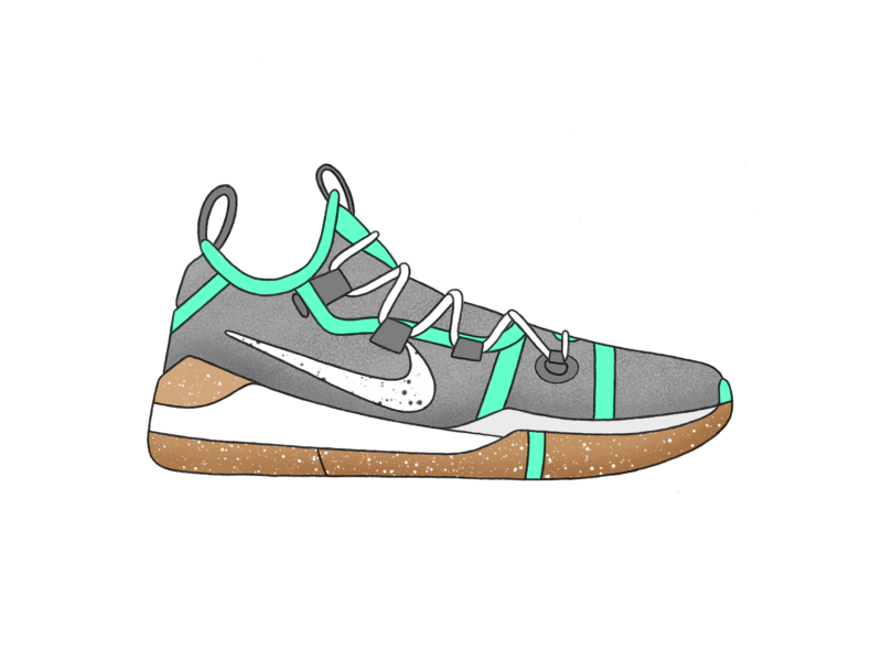 Nike Kobe AD - Mint pattern kobe bryant kobe mint shoes basketball nike branding vector design texture green procreate ipad grey white illustration black