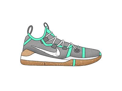Nike Kobe AD - Mint pattern kobe bryant kobe mint shoes basketball nike branding vector design texture green procreate ipad grey white illustration black