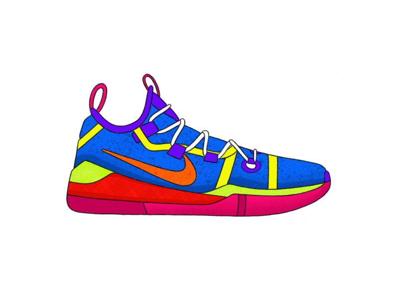 Nike Kobe AD - Bright ux branding logo ui sketch pattern design nike yellow texture green red procreate ipad grey blue white illustration black