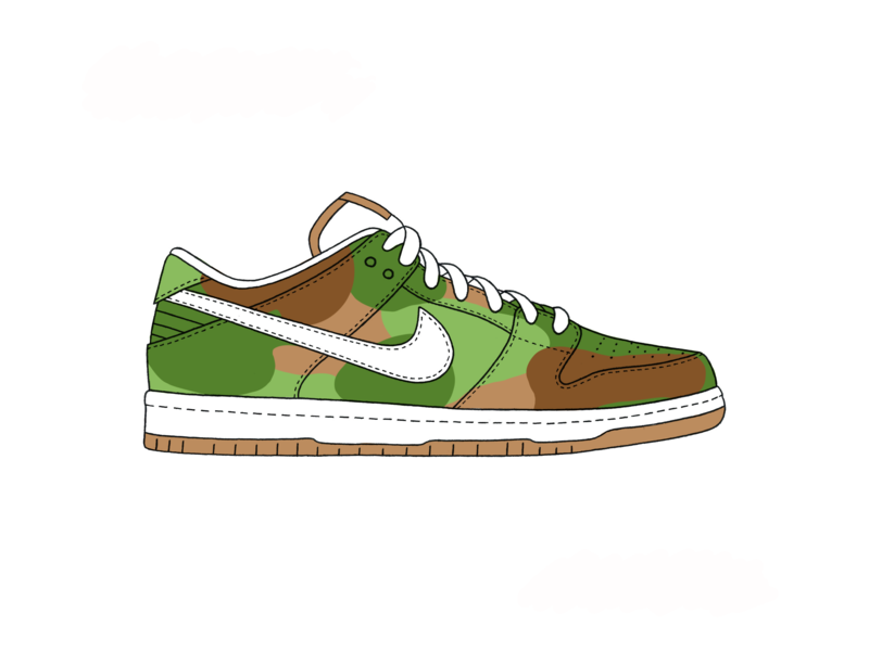 Nike SB Dunk Low - Camo shoe shoes dunk nike camo app branding ux vector ui logo design texture green procreate ipad grey white illustration black