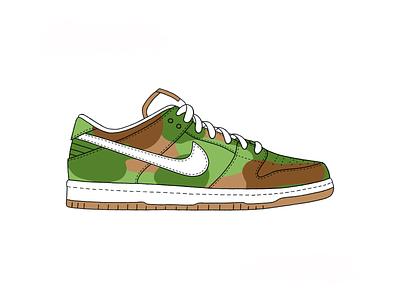 Nike SB Dunk Low - Camo shoe shoes dunk nike camo app branding ux vector ui logo design texture green procreate ipad grey white illustration black