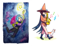 Inktober 2016 - Space Witch and Wizard Musician