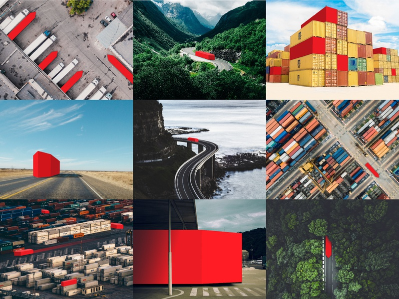 Concept behind Allesnik logo shipment business goods containers roads worldwide lines arrow transportation movement trade fmcg branding logo design