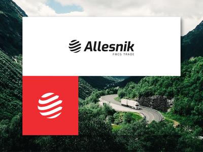 Allesnik branding worldwide transportation trade shipment road movement lines goods fmcg container business arrow branding logo design