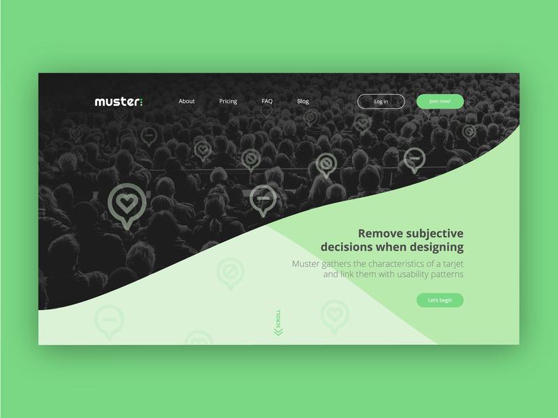 Muster Landing desktop design desktop above the fold landing page usability research user ux dashboard website ui design