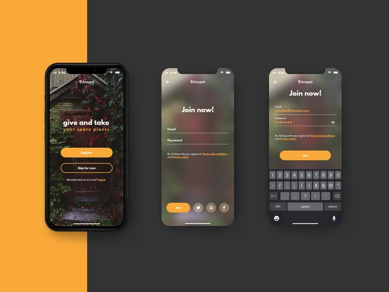 Anspot Login iphone x register social login community giveaway plants mobile app design ux-ui ux ui design design app login screen login design login app ux ui design