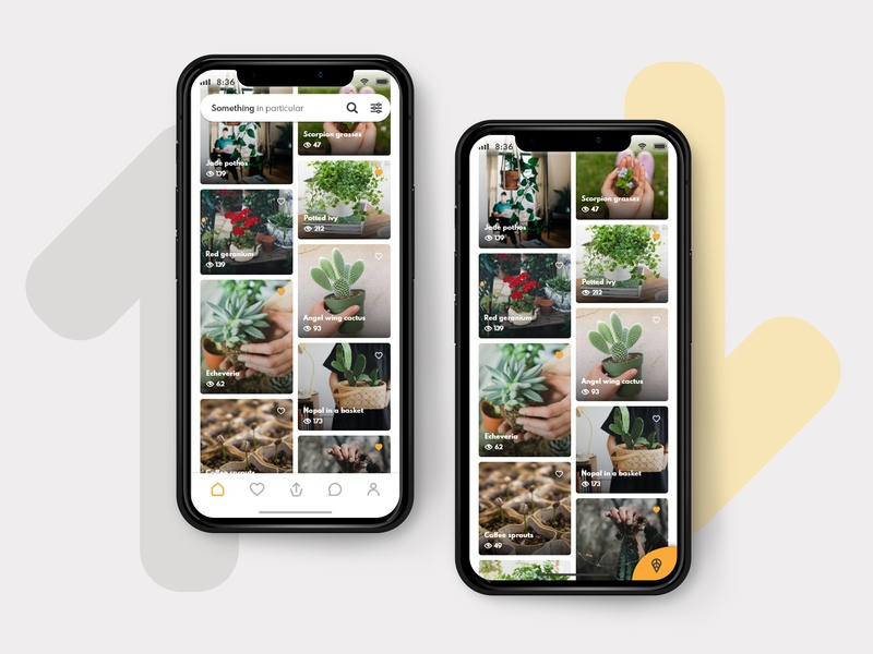 Anspot home navigation and FAB interaction card community location app ux ui design design app iphone x tabs navigation bar masonry search box fab scroll home app giveaway plants app ux ui design