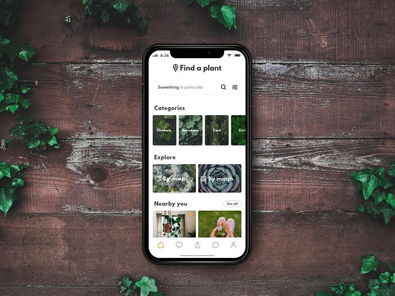 Anspot Home navigation bar like categories tabs app design explore ux ui design card home app home iphone x community location app giveaway plants app ux ui design