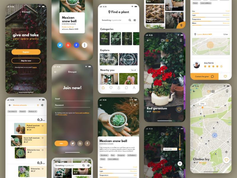 Anspot app overview map search contact log in card filter tagging explore picture design app ux ui design iphone x community location app giveaway plants app ux ui design