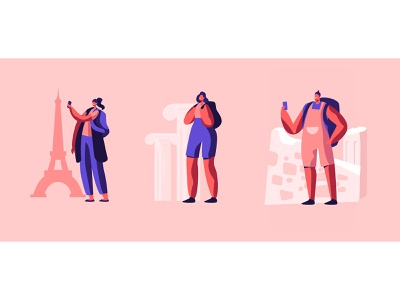 Let's Travel travel vector illustration character