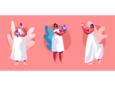 Brides wedding bride vector illustration character