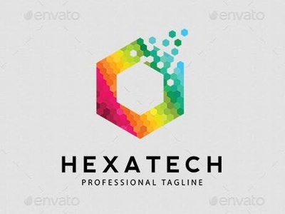 Hexatech Logo Template advertising branding illustration logo design technology tech red professional print ready print orange modern hexagon cubical corporate colorful color business blue