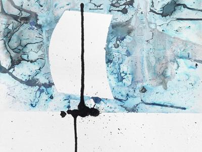 Div. 01 experimental handmade art norway lines horizon sailboat drawing