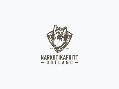 Narkotikafritt monogram vintage emblem clean drugs drug sniffing gotland swedish dog vector branding design logo