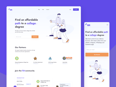Tilt Education Platform - Website ux ui scholarship responsive design university user experience user interface web students school saas landing page illustration education degree dashboard ui crm collage b2c 404