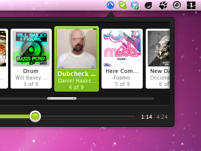 Small Grooveshark OS X app mac os x grooveshark app grey dark clean green