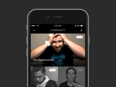 Community Page clean grid music dj community event simple list ios iphone