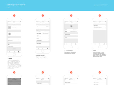 Settings Wireframe
