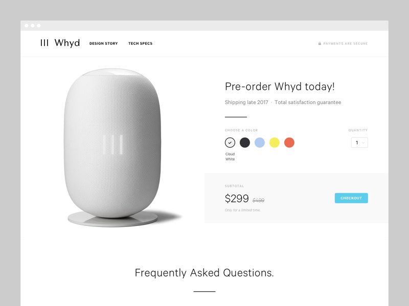 Order summary: Checkout iot payment speaker music simple clean ux ui checkout