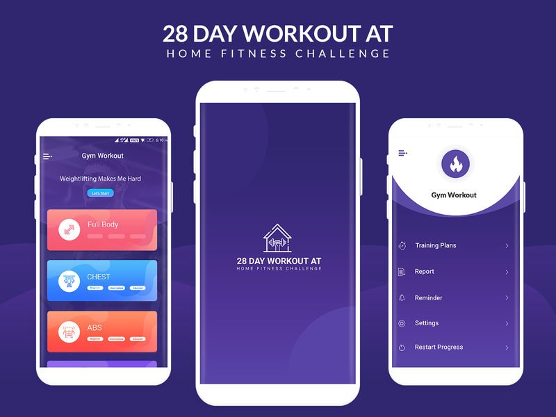Android Ui Kit 28 Day Workout at Home Fitness Challenge icon animation branding design flat app ux ui illustration logo 28 day fitnes 24 hour fitness pilates la fitness bodybuilding fitness planet fitness workout gym uidesing