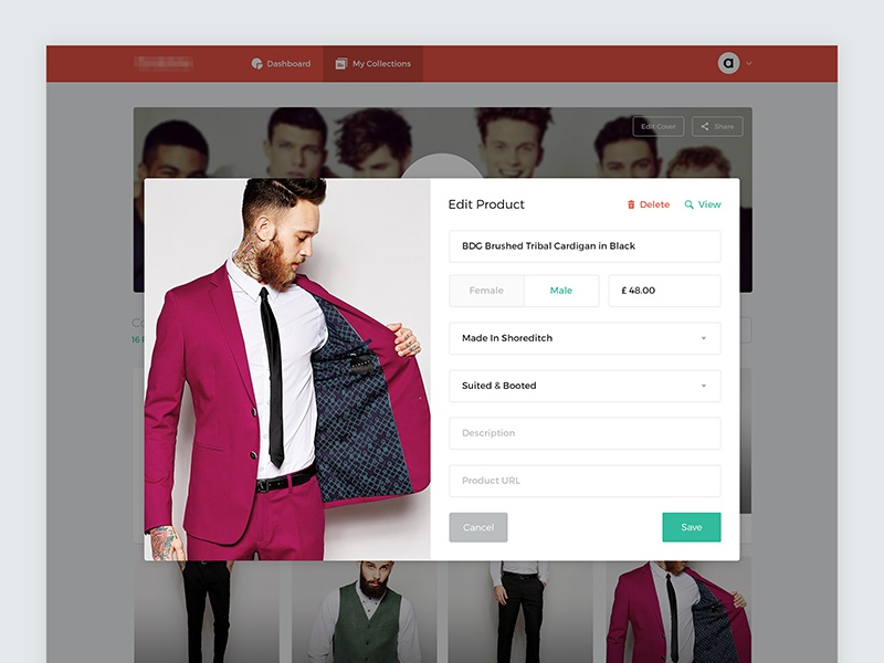 Edit Product Lightbox web fashion lightbox edit admin forms options preferences