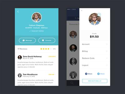 Profile & User Menu iphone ios menu profile user settings account avatar reviews rating