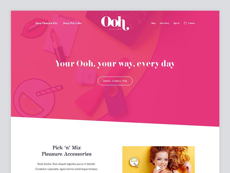 Ooh by Je Joue - Landing Page landing page pleasure relationships sex interface ux ui diagonal modern pink homepage landing
