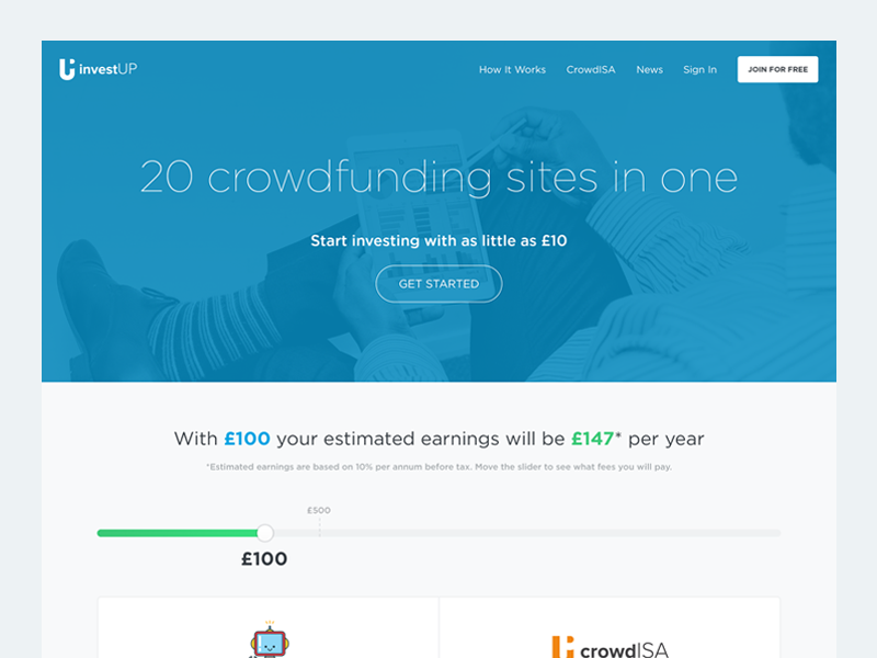 Crowdfunding Landing Page bank crowdfunding hero image landing page user experience user interface button round modern homepage