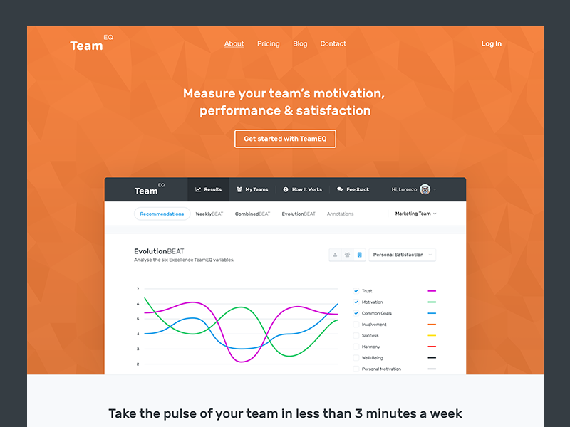 TeamEQ - Public Landing Page landing page ui ux chart graph dashboard hero homepage landing