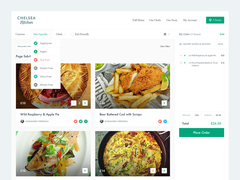 Online Takeaway Food Menu user interface shop store ecommerce interface ux ui desktop web menu food takeaway