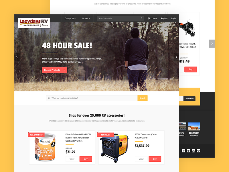 Camping eCommerce Store landing page hero image homepage shop store ecommerce camping