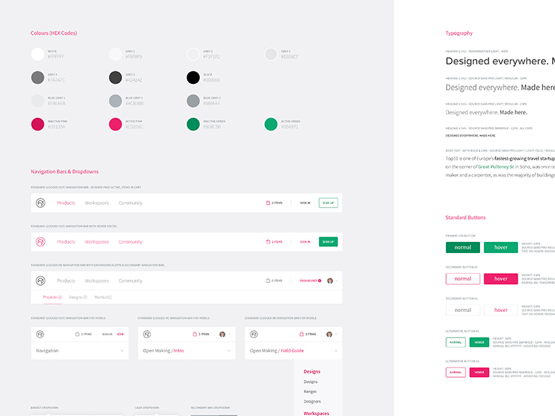 Opendesk Style Guide minimalist buttons navigation colours guide style styleguide