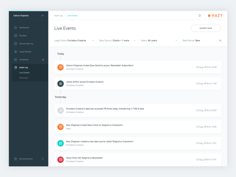 Hazy: Audit Log - Live Events sidebar notifications audit live events gdpr security data ui design user interface
