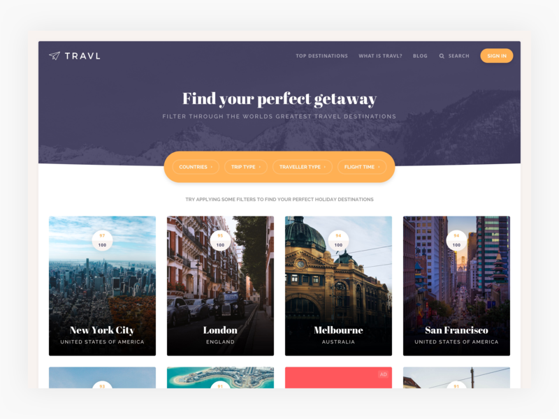 Travl - find your perfect getaway thumbnails cards tiles filter travel ux web user interface ui