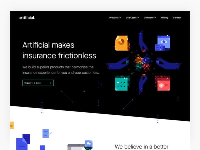 Artificial makes insurance frictionless illustration user experience user interface web ux web ui website homepage marketing page landing page interface ui marketing