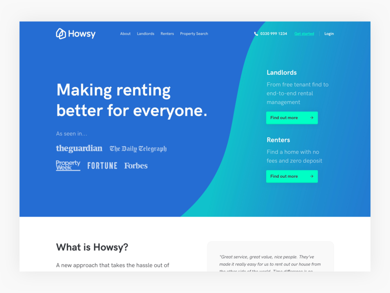 Howsy - making renting better for everyone navigation design landing page homepage ux web interface user interface ui