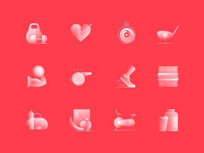 Alpha Icons / Fitness Set diet set app health heart golf sports running gym food weight dumbbell logo symbol icon gradient concept design abstract vector