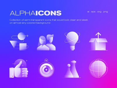 Alpha Icons Collection simple iconography product design application future minimal collection alpha icon set design web app concept symbol ui transparent icon gradient abstract vector