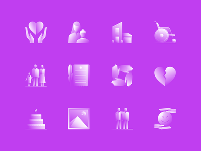 Alpha Icons / Family Set clean app hands wheelchair illustration friendship friends heart property character family people design concept symbol gradient ui logo icon vector