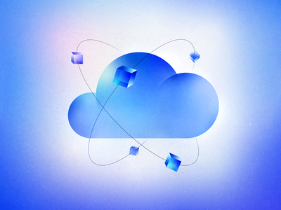 Cloud Technology Illustration clouds server grain texture graphics kubernetes service infrastructure infographic database data cloud computing artwork gradient technology cloud concept design illustration abstract vector