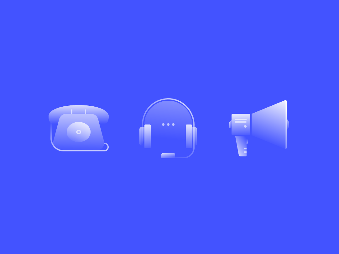 Alpha Icons / Communication megaphone technology marketing support telephone phone communication icons set icons simple blue illustration ui symbol gradient icon design flat abstract vector