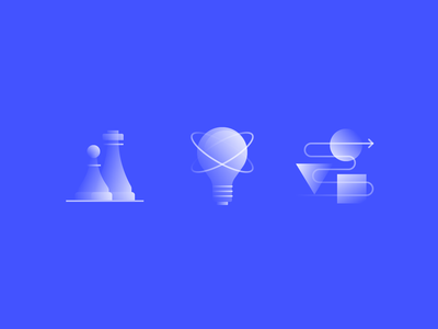 Alpha Icons / Concepts set business blue light bulb lamp idea algorithm strategy chess logo simple symbol gradient icon concept design flat abstract vector illustration