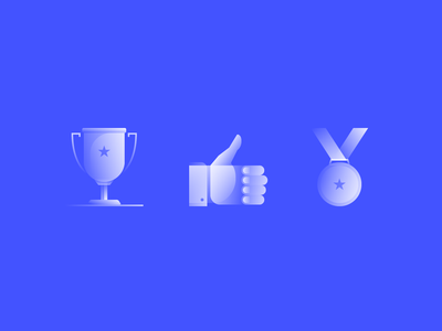 Alpha Icons / Achievements hand prize business abstract set award medal thumbs up like achievement achieve simple symbol icon gradient concept design flat vector illustration