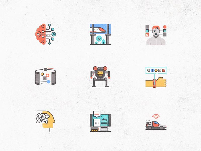 Futuro Next Icons / Technology Pack transport communication flat human wearable robotics neural futuristic icons set line illustration future business logo technology symbol simple concept icon vector