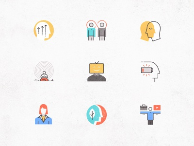 Futuro Next Icons / Human Pack metaphor person character icons set woman man mental logo human business simple symbol icon concept design illustration flat abstract vector